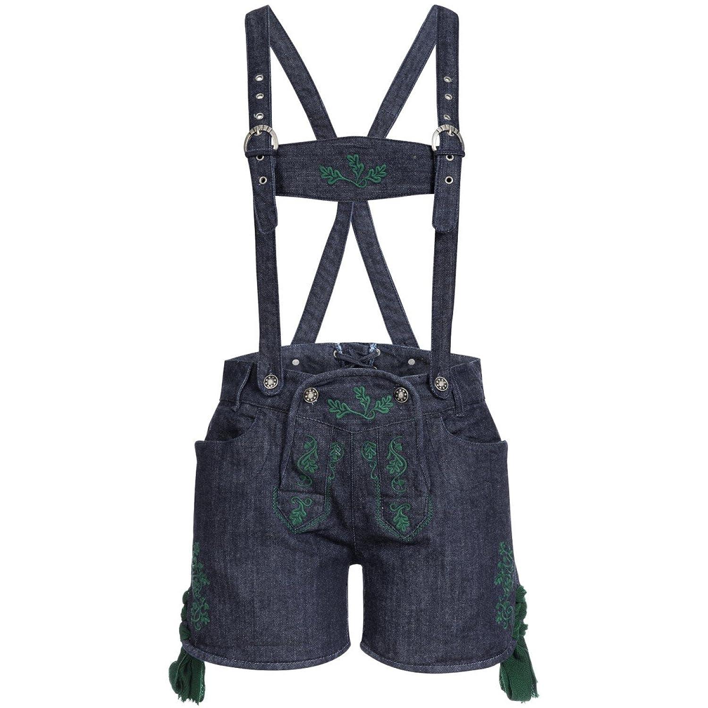 Jeans-Lederhose Stupsi in Blau/Tanne von Almsach