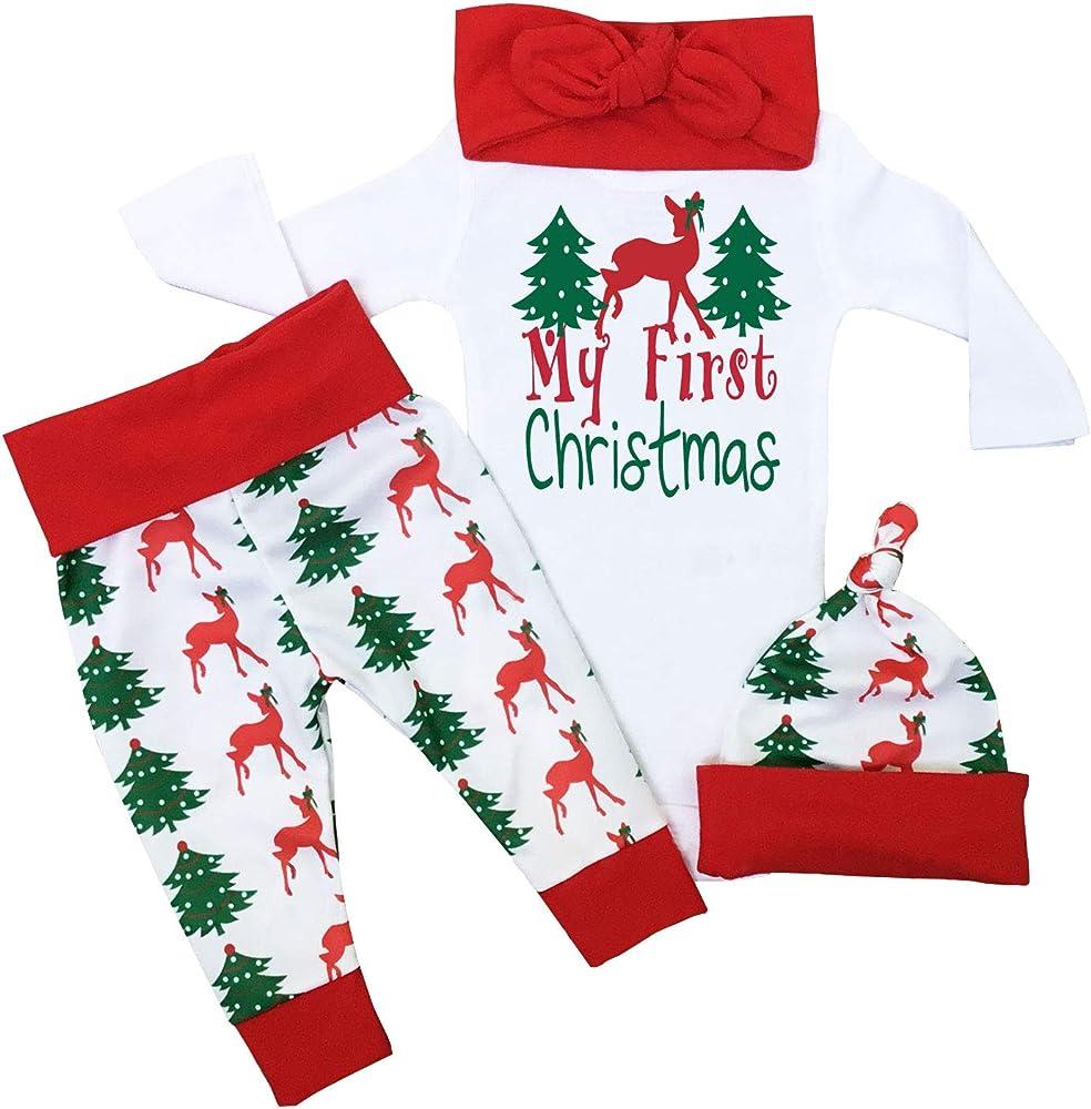 My First Christmas.Christmas Outfit Baby Girls My First Christmas Romper Bodysuit Onesie Deer Christmas Tree Print Pants