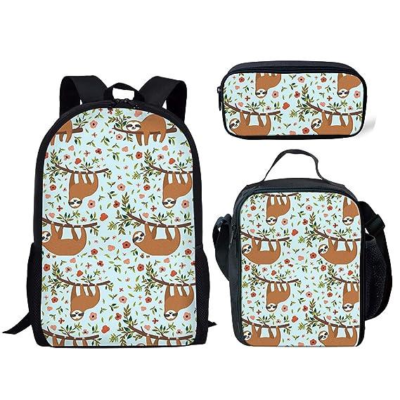 1cc07b891f24 FANCOSAN 3PCS/Set of Cartoon Sloth Pattern School Bags+Lunch Purse+Pencil  Case for Teenager Boys Girls Back to School