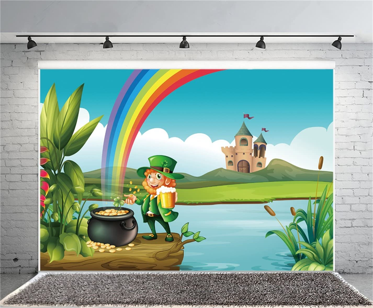 10x6.5ft Polyester Magical St.Patricks Day Photo Backdrops Dreamy Pot of Gold Coins Abstract Clover Bokeh Haloes Background Child Adult Portraits Shoot Community Activities Luck Greeting Card