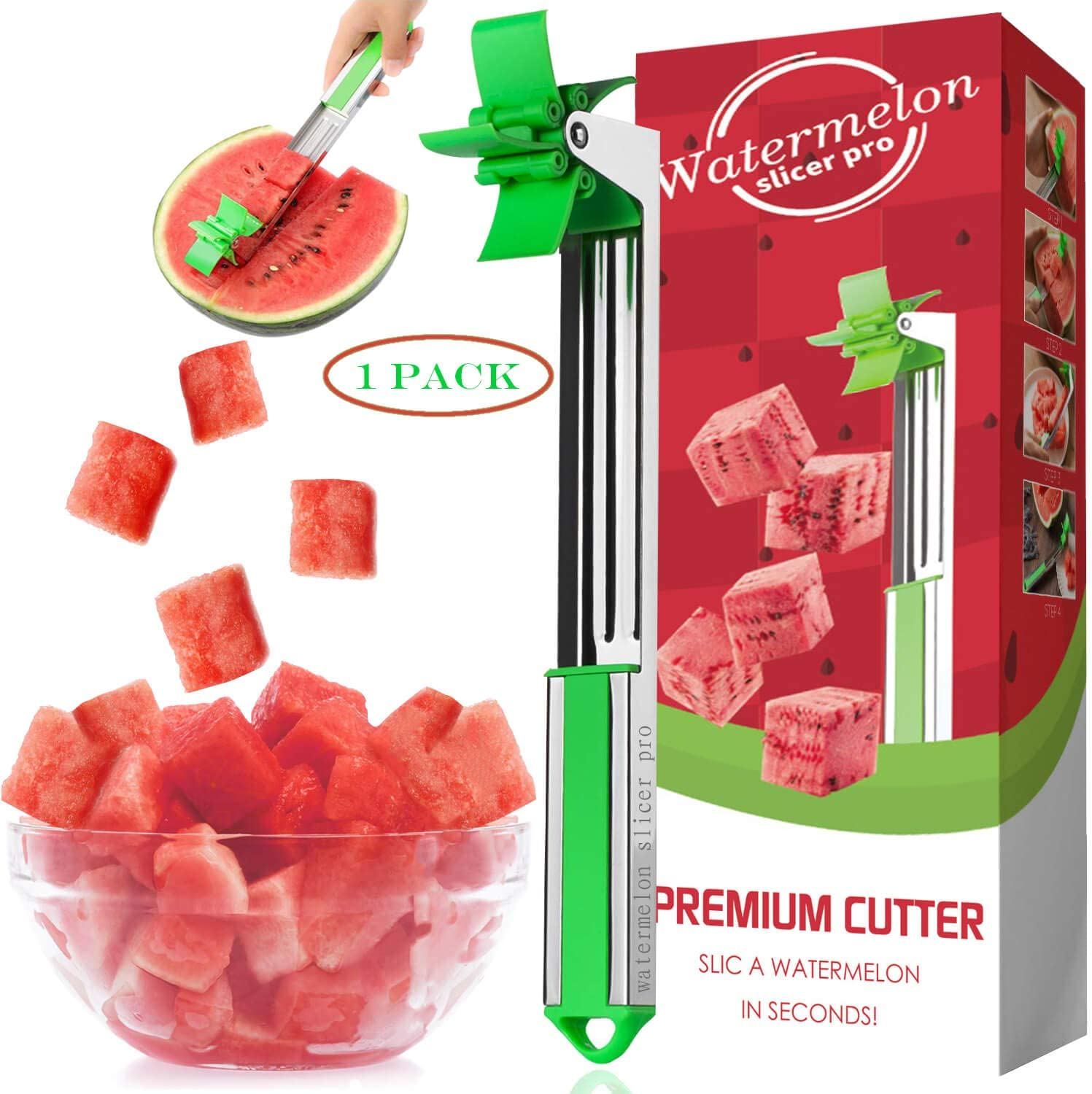Watermelon Slicer Cutter Stainless Steel Windmill Watermelon Cutter Knife - Kids Fascinated Melon Cuber Cutting Tool - Carving and Cutting Utility Knife for Home Fruit Party - Cool Kitchen Gadgets
