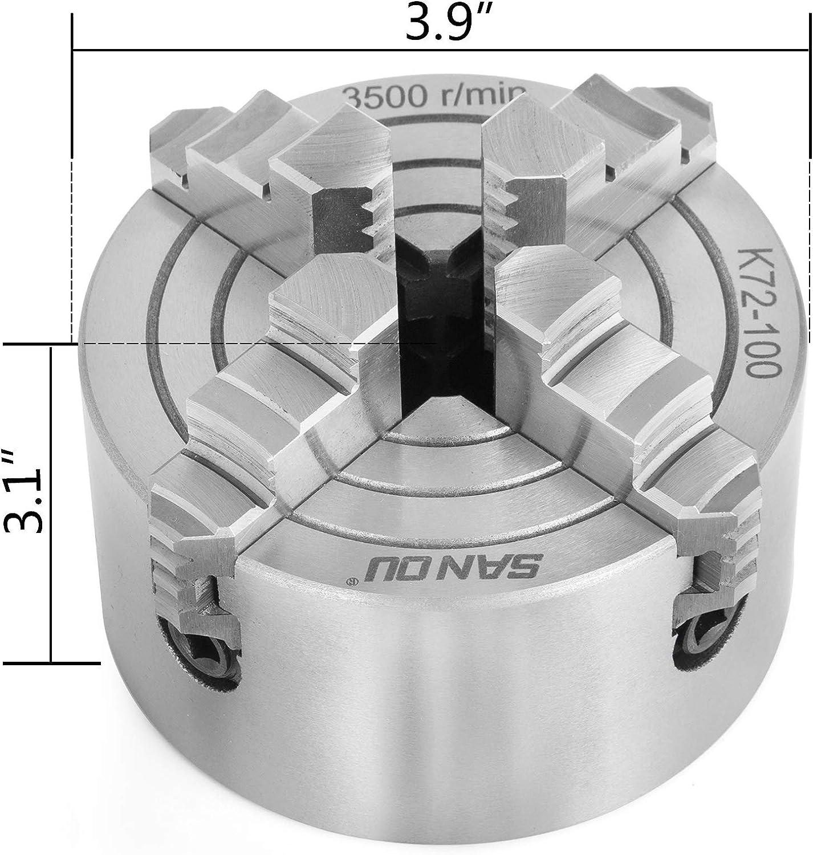 Mophorn Mandril De Torno Autocentrante 100 mm Torno de Mandril Autocentrante de 4 Mordazas de 4 Mordazas Independientes Llave De Mandril