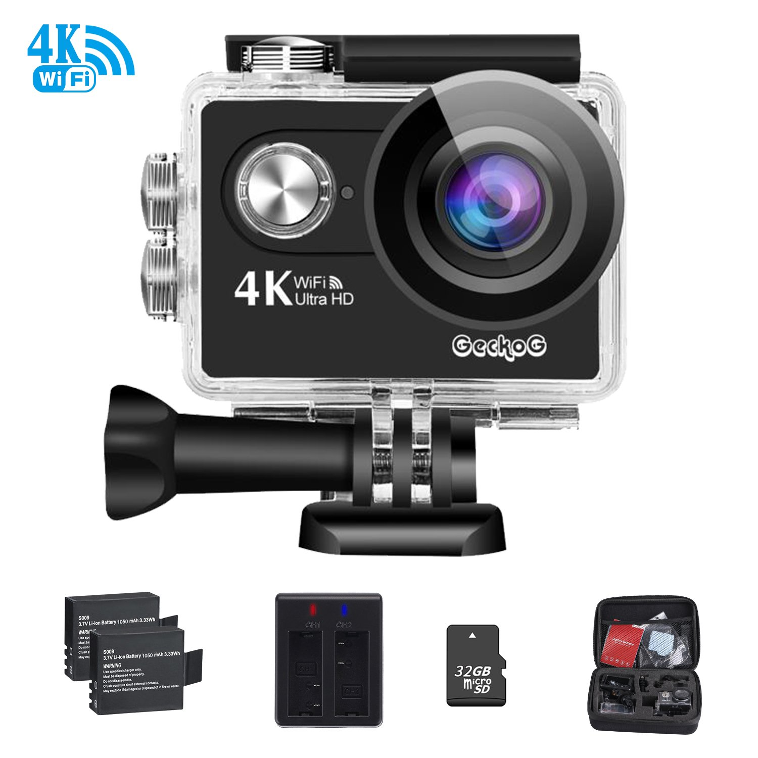 4K WIFI Sports Action Camera Ultra HD Waterproof DV Camcorder 16MP Underwater Camera Helmet Camera 170°Wide Angle+2Pcs 1050Mah Rechargeable Batteries+USB Dual battery Charger+ with 32GB Class 10 Memor