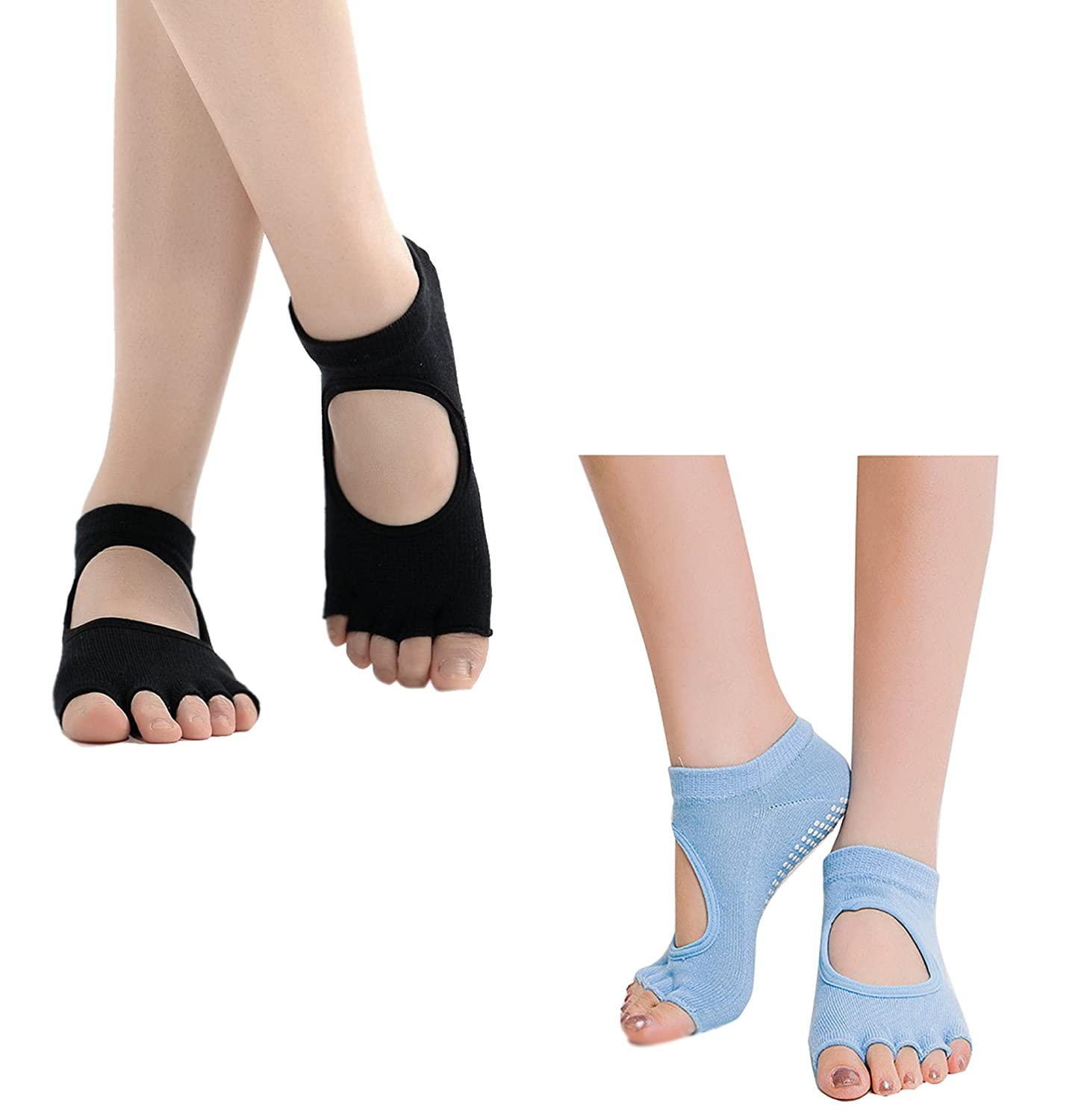 Flesser Yoga Sports GYM Five Toe Separator Socks Alignment Pain Health Massage Socks