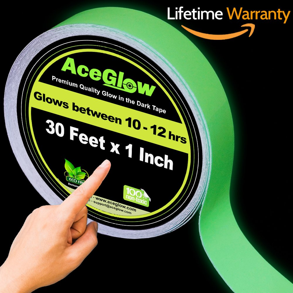 Glow in the Dark Fluorescent Tape 30' ft Length x 1 Inch Wide, Premium Quality Non-Toxic, 12 Hour Glow. Sticks Easily & Waterproof. Perfect for Home and Office use.