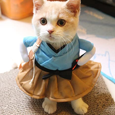 Amyove Funny Cat Dog Costume Uniform Suit Clothes Puppy Dressing Up Suit Party Cosplay Clothes Home Kitchen