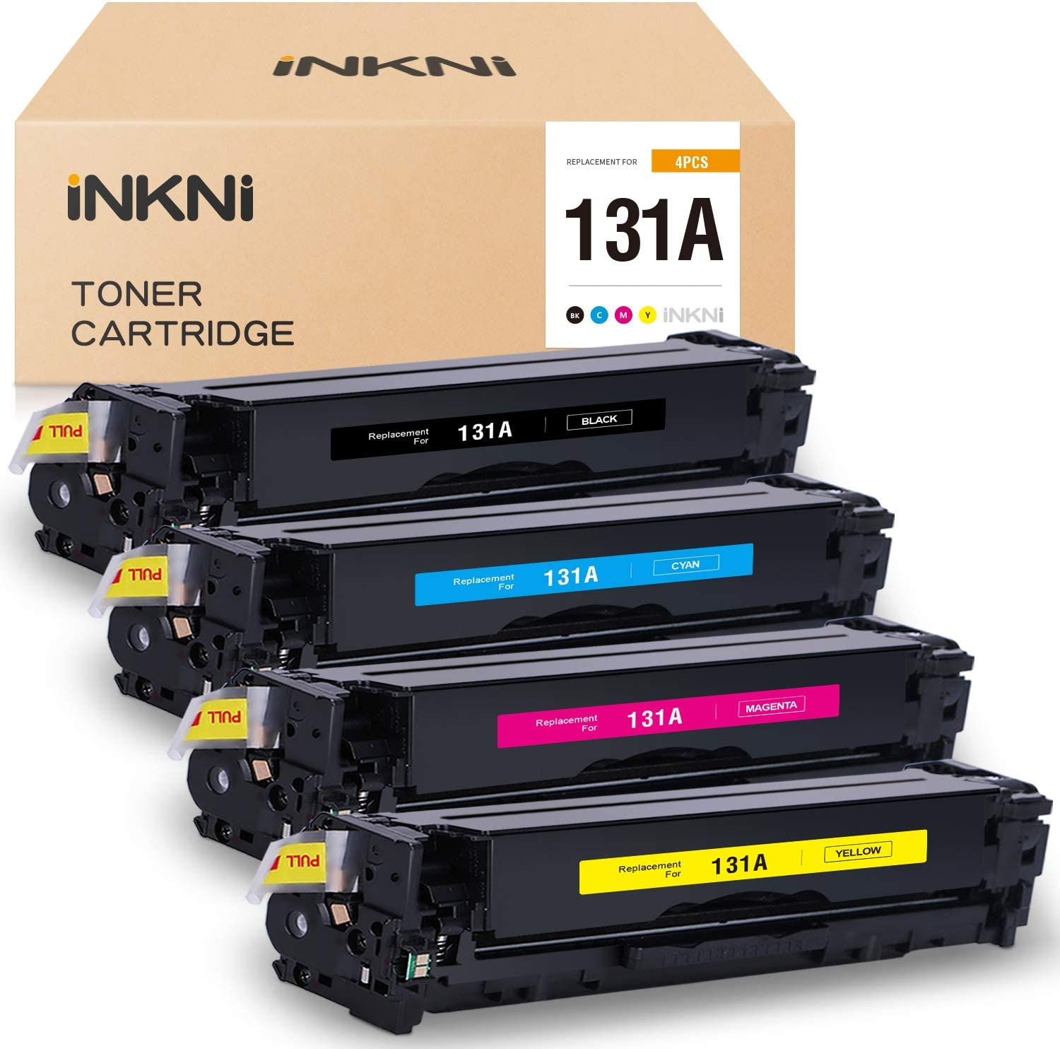 INKNI Remanufactured Toner Cartridge Replacement for HP 131A CF210A 131X CF210X CF211A CF212A CF213A for Laserjet Pro 200 Color M251n M251nw MFP M276n M276nw (Black Cyan Yellow Magenta, 4-Pack)