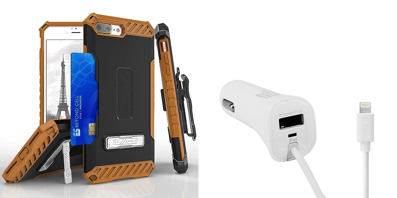 Apple iPhone 8 Plus – Accessoryバンドル:デュアルレイヤー耐衝撃[ Military Grade ]保護ケース、Cellet [ Apple MFI認証取得] 3.4 A / 17 W Lightning USBポートの車の充電器、Atom LED AP-8PLUS-BKBRW TRI/PAPP8H34WT LED B075QN3GHK ブラック / ブラウン ブラック / ブラウン