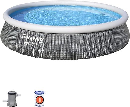 Bestway 57376 - Piscina Desmontable Fast Set Rattan 396x84 cm ...