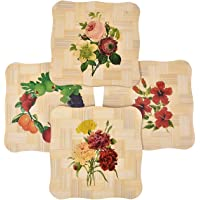 Yellow Weaves™ 4 Piece Wooden Coasters or Pan Pot Holder Heat Insulation Pad (15X15 cm)