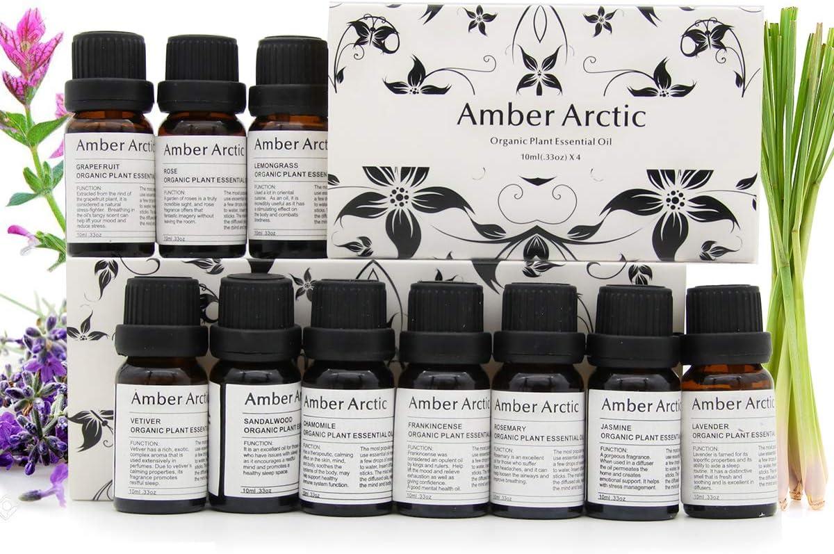Top 10 Essential Oils Set, 100% Pure Natural Aromatherapy Essential Oil Gift Set(Jasmine, Vetiver,Chamomile, Sandalwood, Frankincense, Rose, Lavender, Rosemary, Lemongrass, Grapefruit)