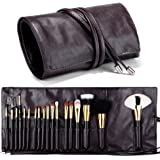 Travelmall Makeup brush rolling case pouch holder Cosmetic bag organizer Travel portable 18 pockets Cosmetics Brushes leather case (coffee)