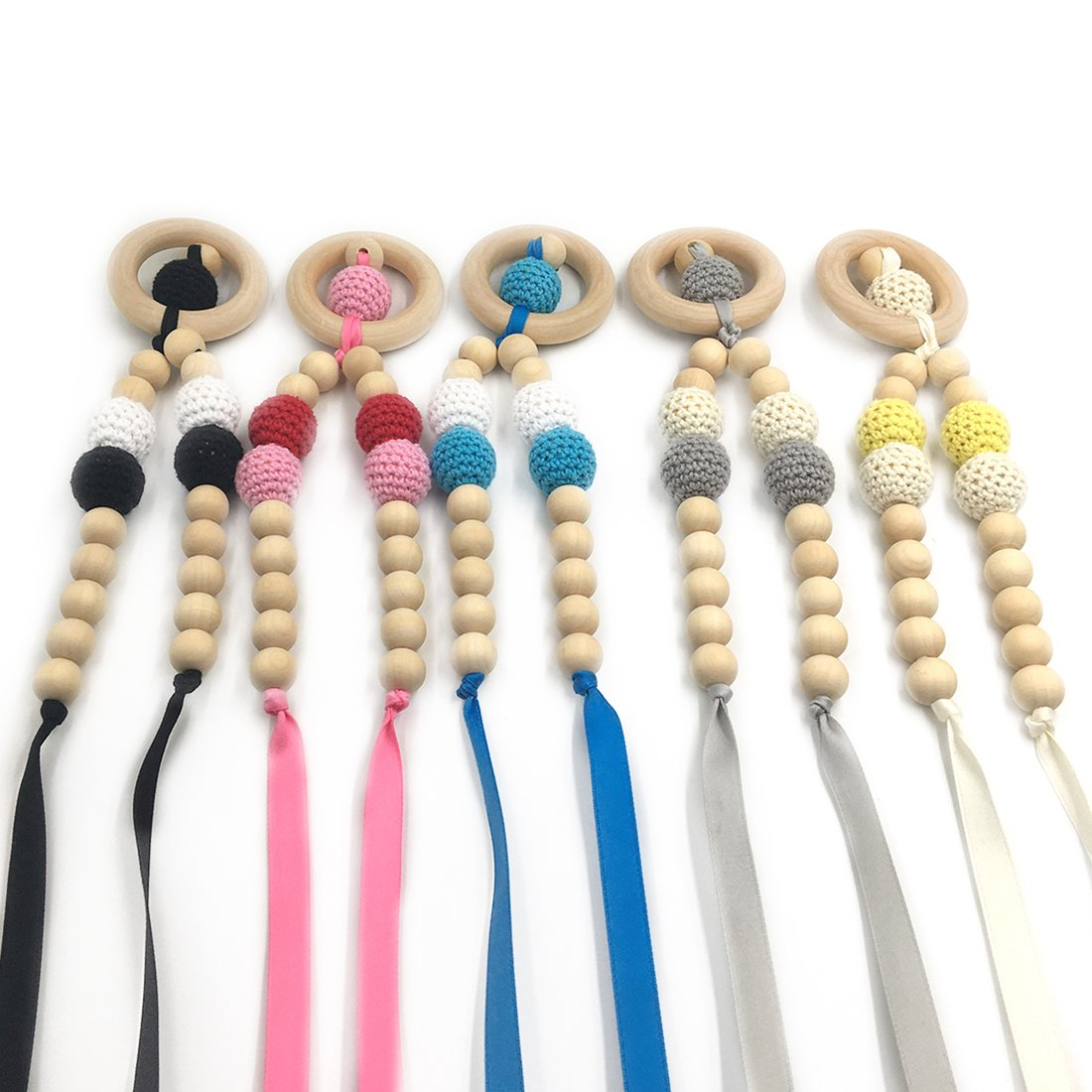 Amyster 5pcs Crochet Beads Baby Teether Necklace Beads Safe Teething Necklace With Organic Natural Wood Toy Mom Kids Wooden Teether Necklace