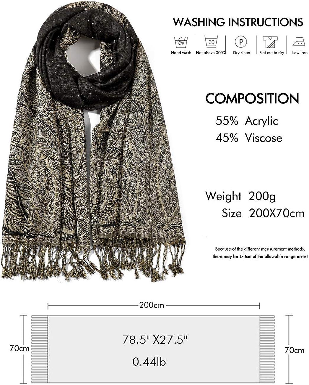 70cm Elegante Bufanda Estampada para Mujer Lujoso Chal C/álido con Borla Suave Pashmina Estilo Paisley /Étnico Uso en Oto/ño Invierno 200