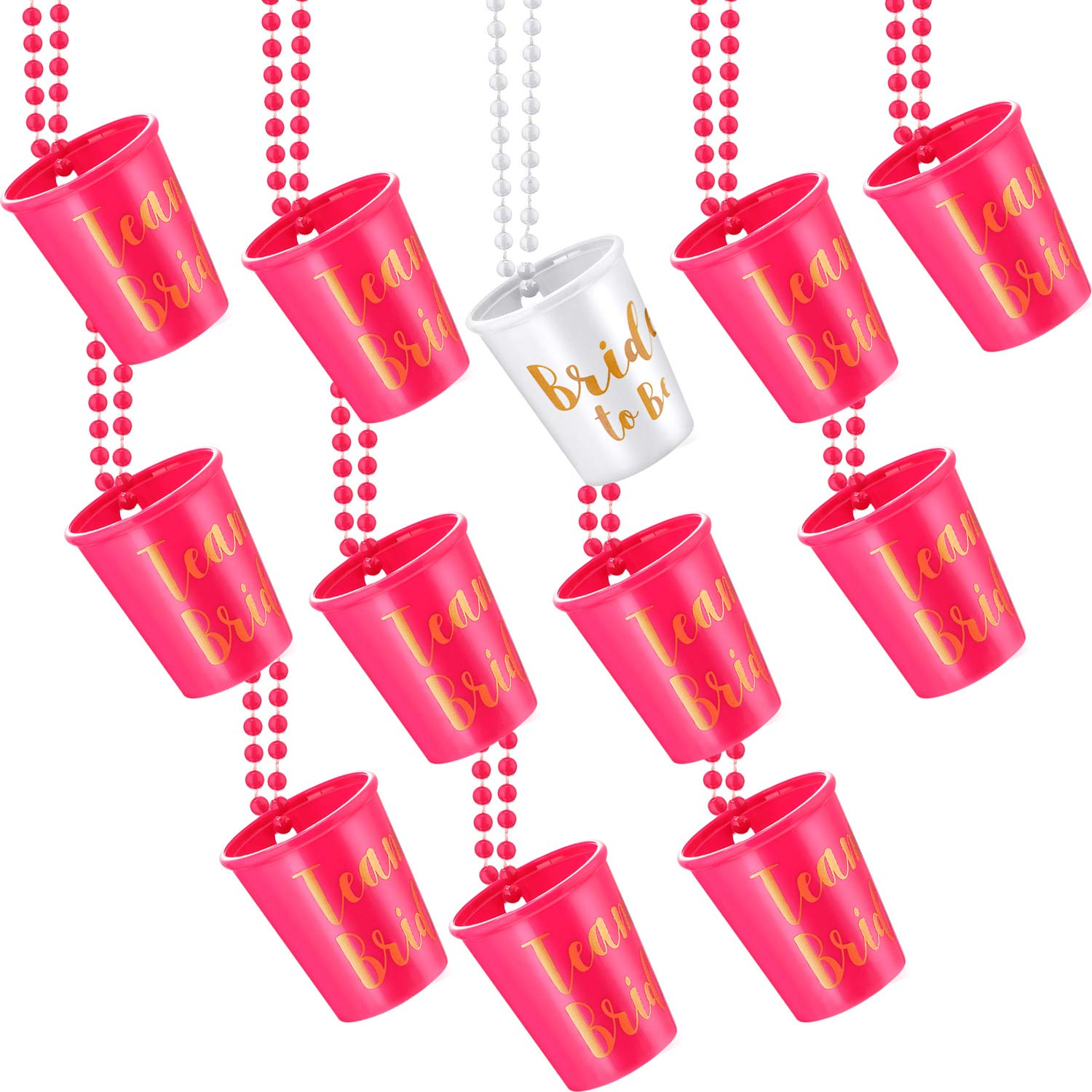 12 Pieces Team Bride and Bride to Be Plastic Beaded Bridal Shot Glass Necklace Pink and White with Gold Foil for Bachelorette Party Bridal Party Necklaces