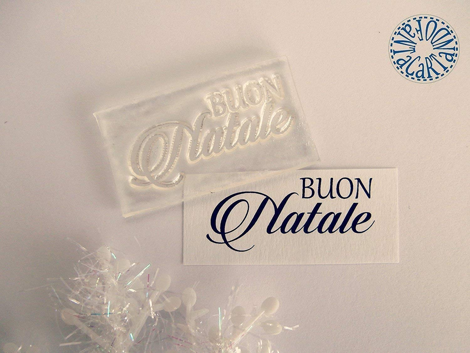 cardmaking Timbro clear silicone BUON Natale scritte scrapbooking
