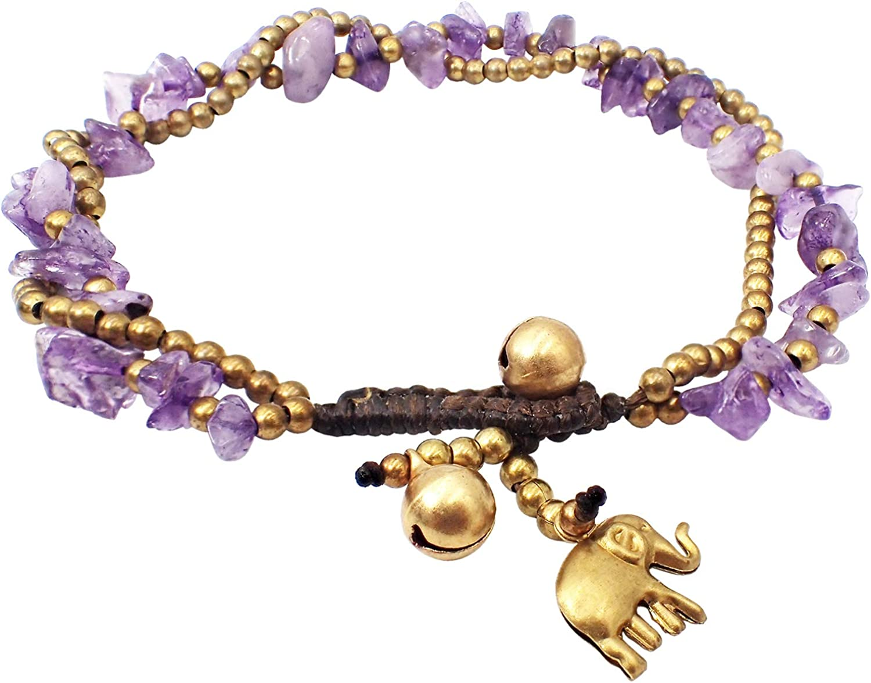 Bijoux De Ja Handmade Purple Stone Elephant Charm Brass Beads Anklets Bracelet 10 Inches