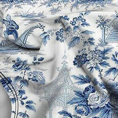 Amazon.com: Chino Estilo Polvo Azul Chinoiserie Toile ...