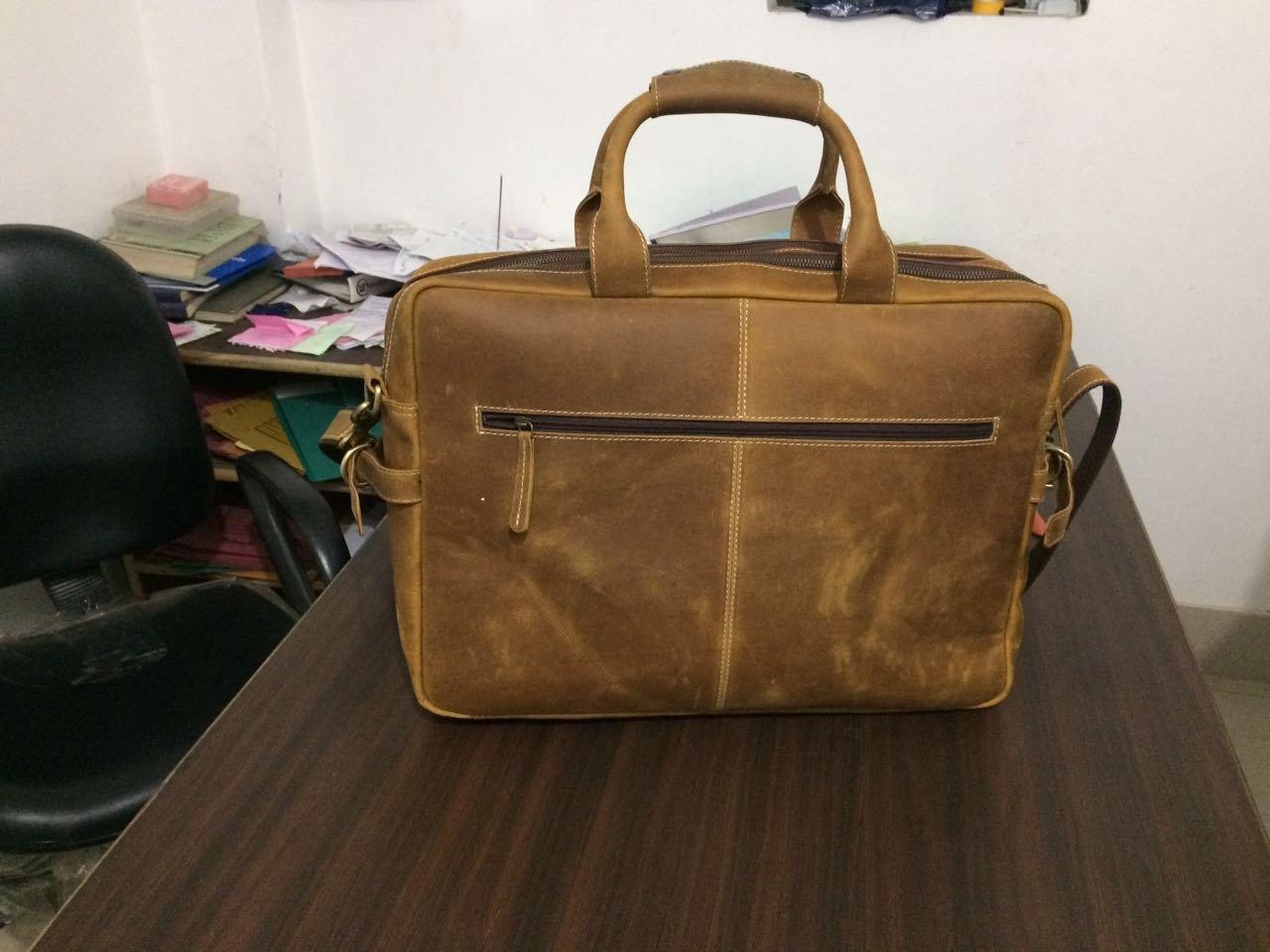 Devil Hunter 18 inch Vintage Buffalo Leather Messenger Satchel Laptop Briefcase Men's Bag Crazy Vintage Leather Messenger Briefcase Bag