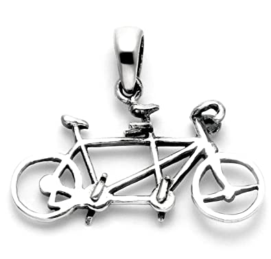 Amazon sterling silver tandem bicycle pendant bike earrings sterling silver tandem bicycle pendant aloadofball Image collections