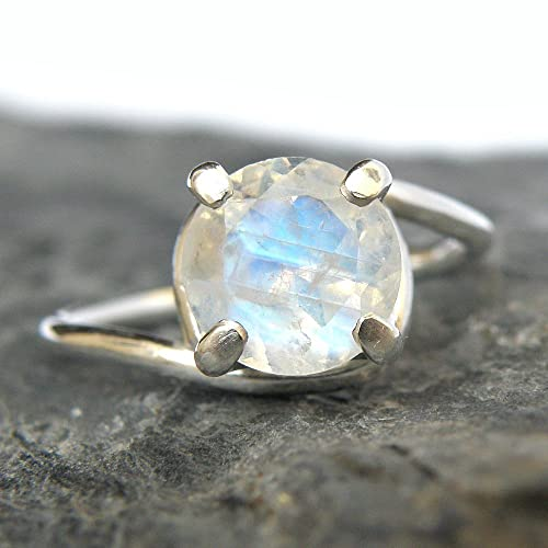 rainbow moonstone engagement ring sterling silver ring - Moonstone Wedding Rings