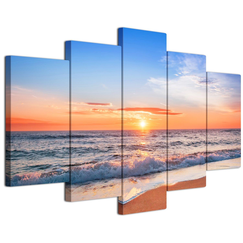 【リブラLibra】 5パネルセット アートパネル インテリアアート 海の景色 キャンバス絵画 (木枠付きの完成品) (L, LP1747) B075VKY7B9 Large|LP1747 LP1747 Large