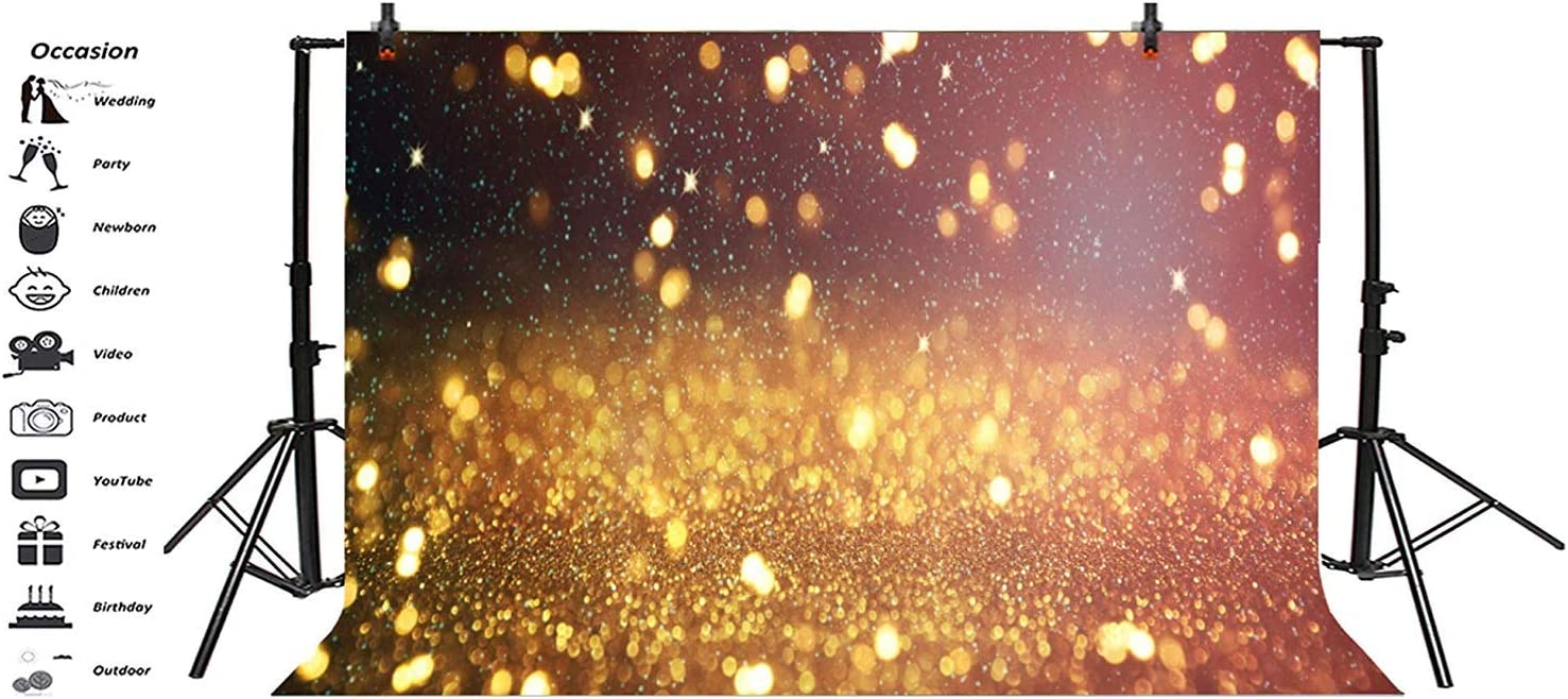 8x6.5ft Shiny Golden Glitter Blurry Bokeh Haloes Backdrop Polyester New Year Birthday Photography Background Child Kids Baby Adult Portrait Shoot Studio Photo Props Wallpaper