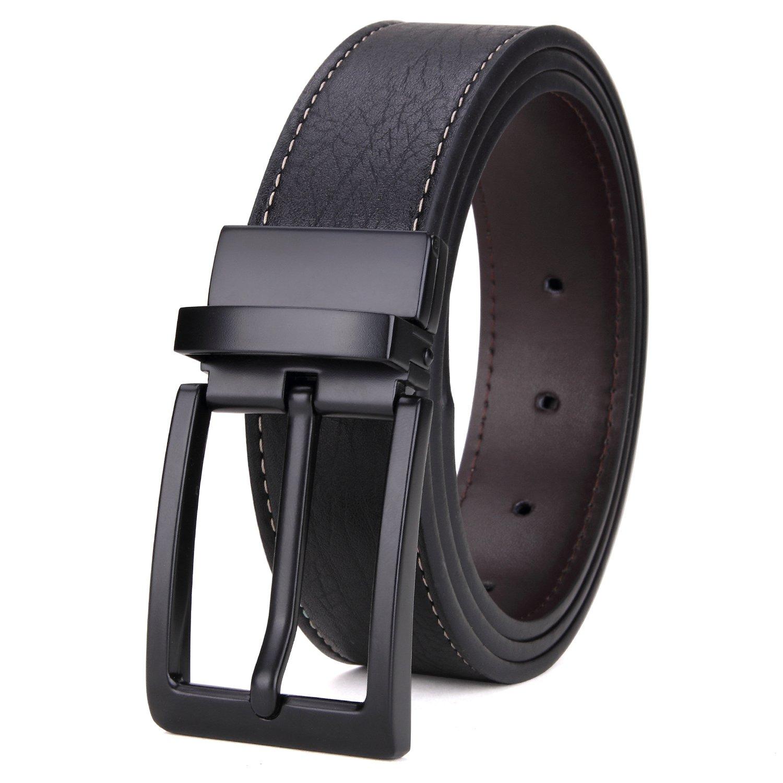 Matasuha Men's Reversible Belt Dress Leather Belts For Men Rotated Buckle Black, 37 38 Waist