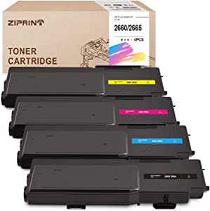ZIPRINT Remanufactured Toner Cartridge Replacement for Dell C2600 C2660dn 2600dn C2665dnf (1 593-BBBU Black, 1 593-BBBT Cyan, 1 593-BBBS Magenta, 1 593-BBBR Yellow, High Yield 4-Pack)