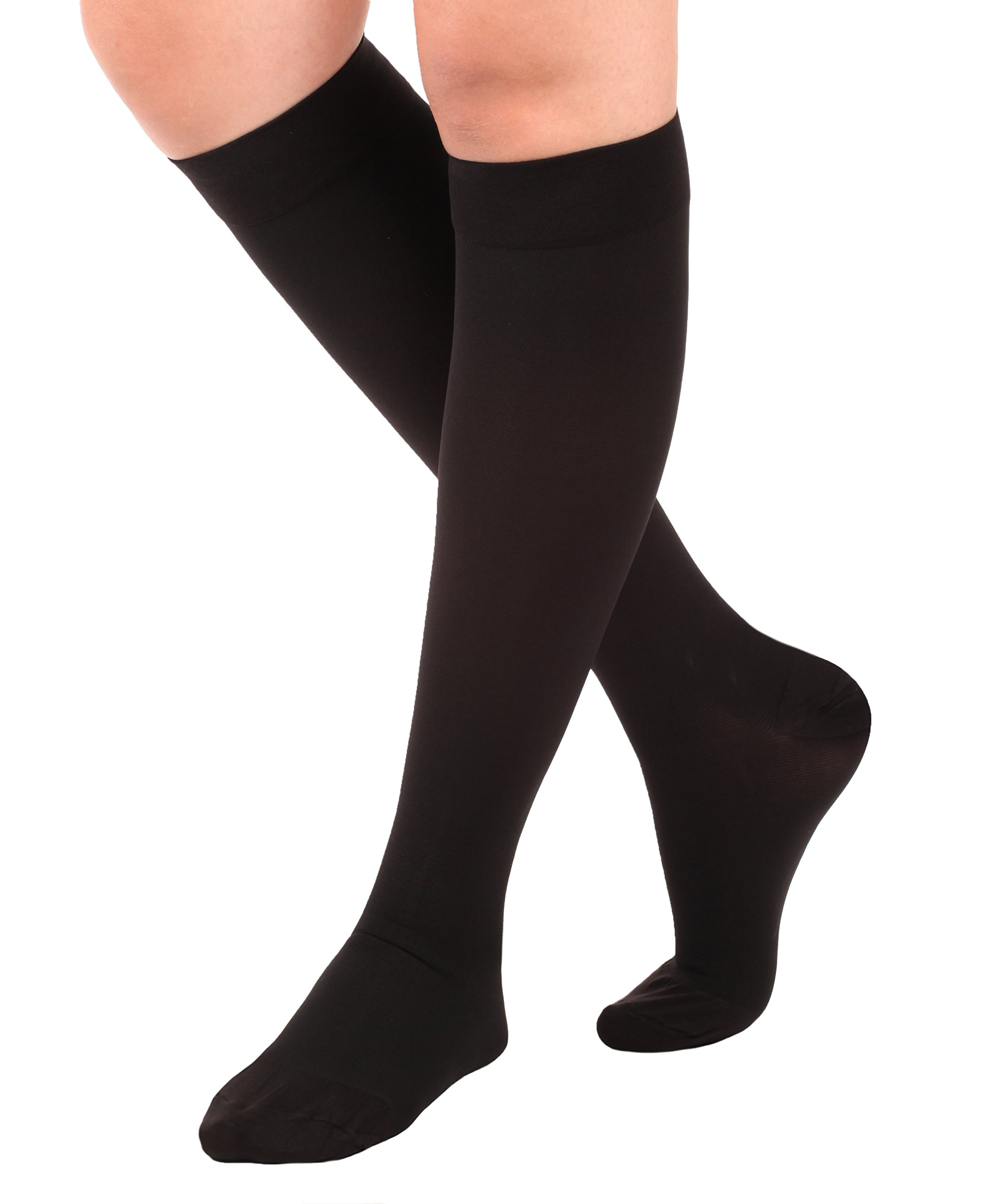 Made in the USA - Opaque Compression Socks, Knee-Hi - Firm Medical Support Hose - Closed Toe, 20-30 mmHg Graduated Compression Stockings (Size: Medium, Black) Support Stockings for Men and Woman