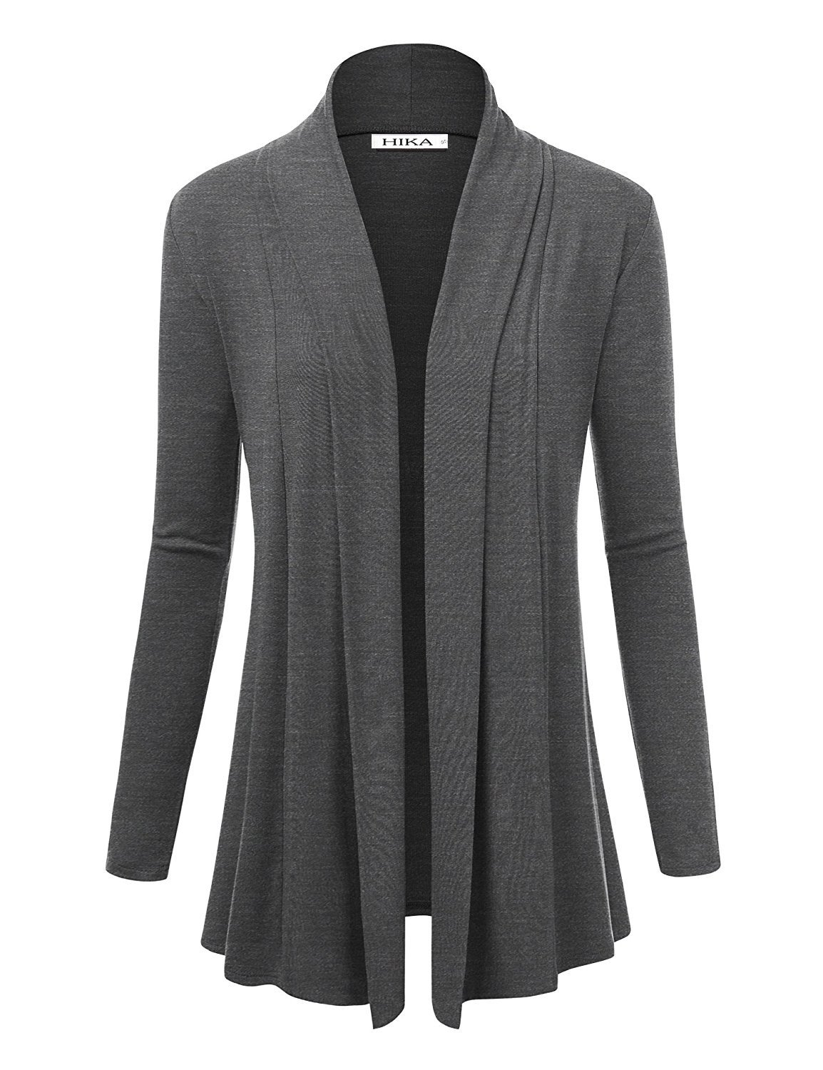 HIKA Women's Classic Long Sleeve Draped Open Front Cardigan (Medium, Heather Grey)