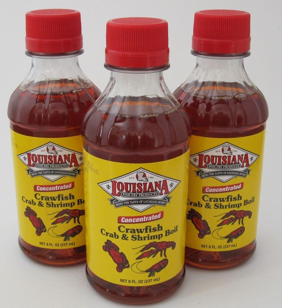 Louisiana Fish Fry: Liquid Crawfish, Crab and Shrimp Boil, 3 (THREE) 8oz Bottles by Louisiana Fish Fry Products