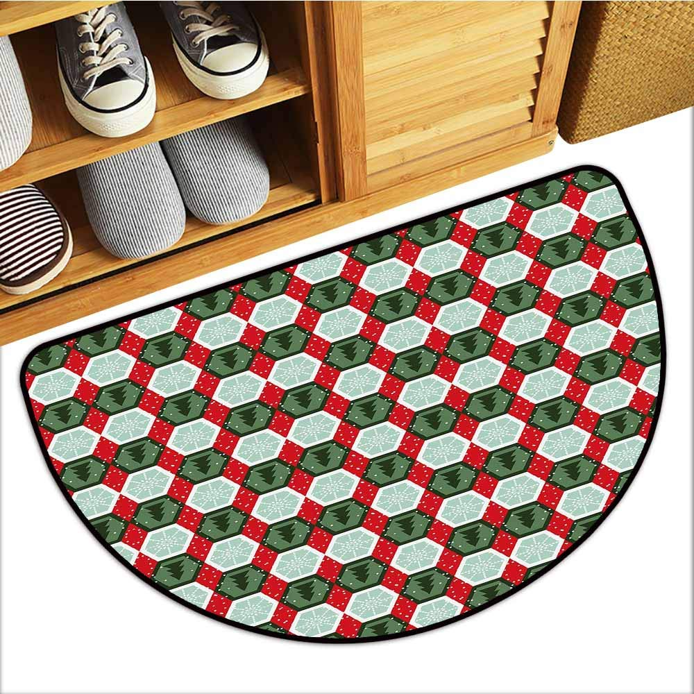 Custom&blanket All-Natural Rubber Doormats, Geometric Non-Slip Rugs for Kids Room, Hexagon Shapes with Snowflake and Pine Tree Design Winter Themed (Reseda and Hunter Green Red, H24 x D36 Semicircle)