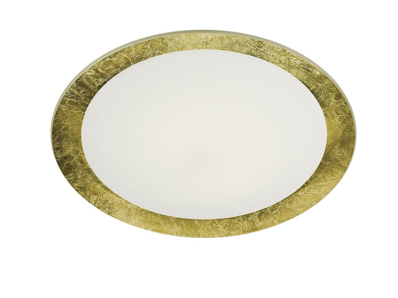 Trio Leuchten LED-Deckenleuchte Vancouver goldfarbig, Glas weiß satiniert 656813079