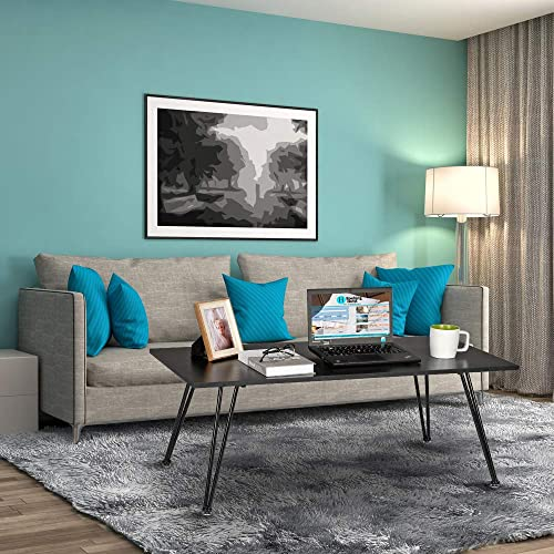 Binrrio Coffee Table Shelf, Mid-Century Modern Rectangle End Table Easy Assembly Stable Waterproof Metal Frame Accent Furniture for Living Room Type 3