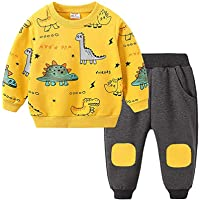 Niños Chándal de Dibujo Animado Dinosaurio Eatampado Tops con Manga Larga Pantalones para Niño 2 Piezas Traje Cálido y…