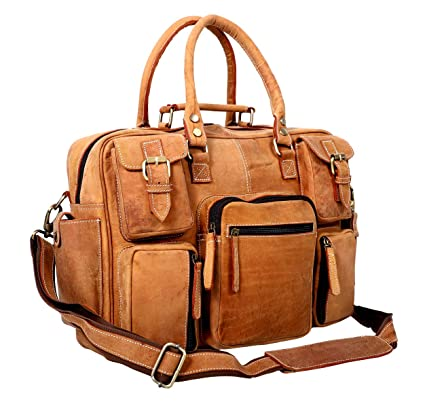 4d23af5ac756 Image Unavailable. Image not available for. Color  Komal 16 Inch Leather  Laptop Messenger Bag ...