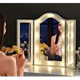LUXFURNI Vanity Lighted Tri-fold Makeup Mirror with 10 Dimmable LED Blubs, Touch Control Lights Tabletop Hollywood…