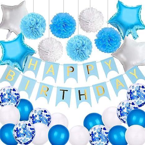 Aperil Bandera de Feliz cumpleaños para niños, Cumpleaños Globos Azul Blanco Paquetes de decoración de Fiestas para niños Hombres Adultos con Pompones ...