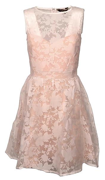 b0f90b2e1e7f Abito Corto Donna Lipsy Smanicato Rosa e Bianco Fantasia Floreale Fiori  EX002400  Amazon.it  Abbigliamento