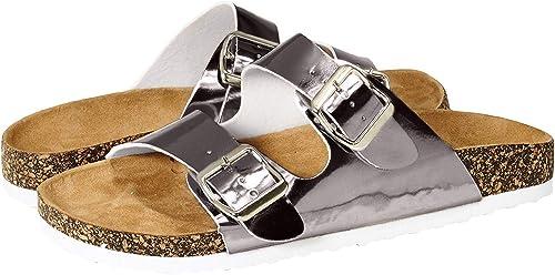 Buckle Strap Cork Footbed Slide Sandals