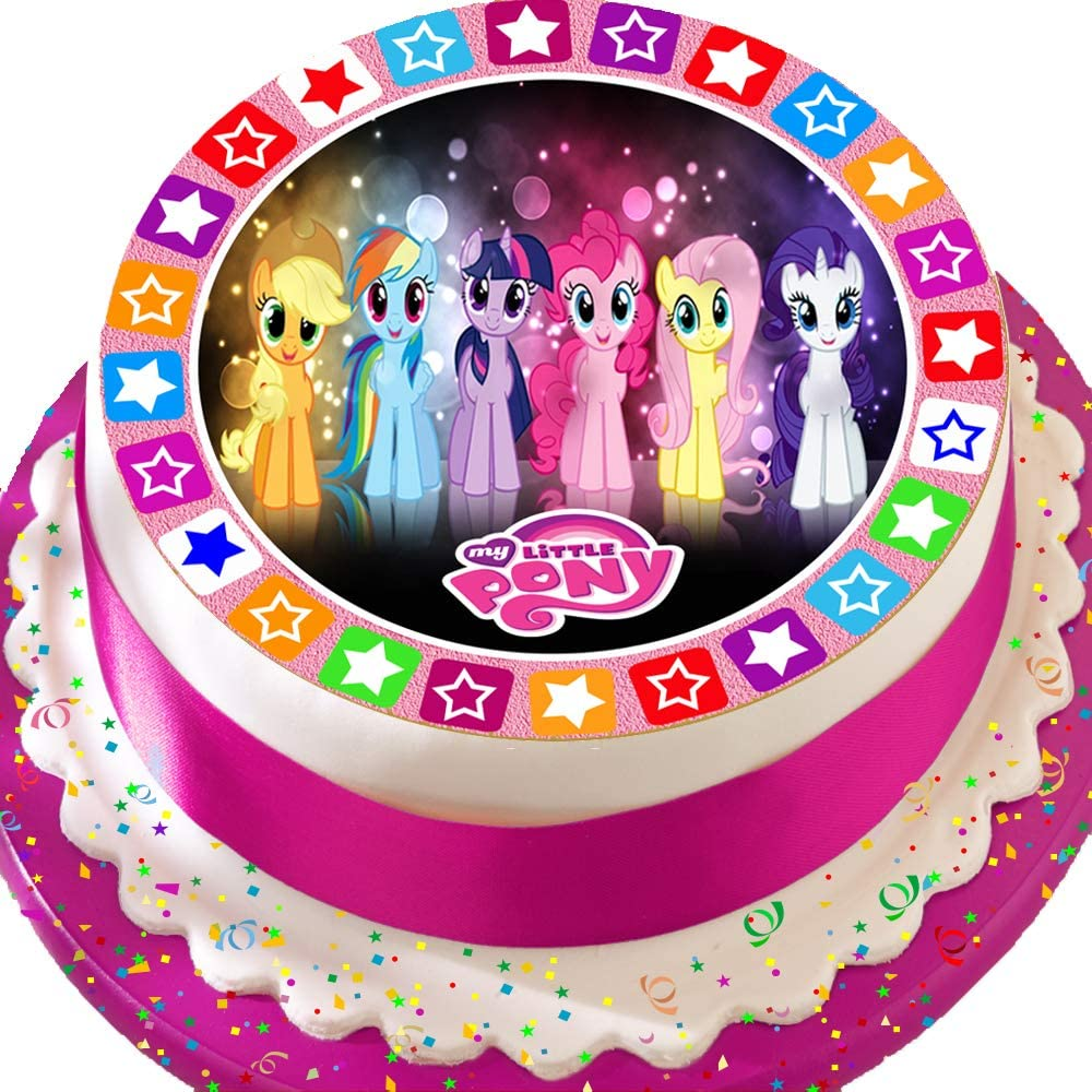 Astounding Precut Edible Icing Large Cake Topper 7 5 Inch Round My Little Personalised Birthday Cards Beptaeletsinfo