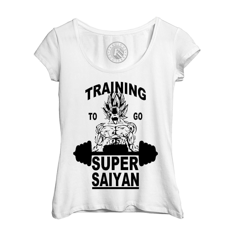 8b67e3545d61 T-Shirt Femme Col Rond Echancré Training to Go Super Sayan Dragon Ball ...