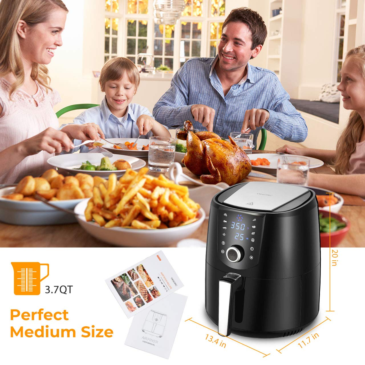 w//Cookbook Upgraded OMORC Air Fryer Keep Warm Digital Oilless Cooker w//Quick Knob /& Touch Screen 3.8QT 2-Year Warranty 8-15 Presets Detachable Non-Stick Dishwasher Safe Basket Hot Air Fryer Oven