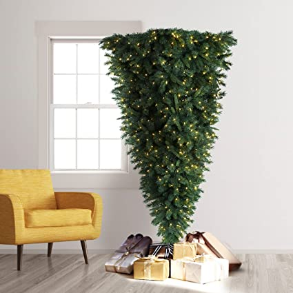 Amazon.com: Treetopia Knocked Upside Down Artificial Christmas Tree ...