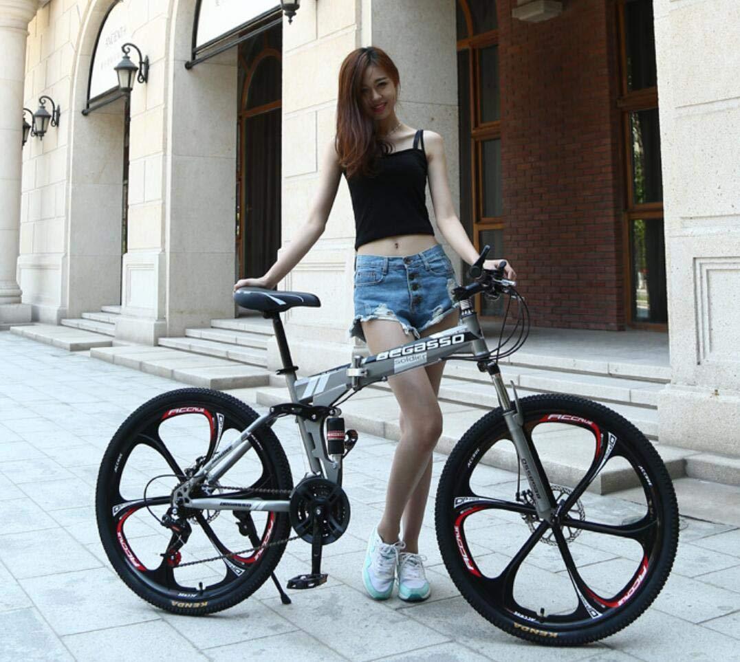 折りたたみマウンテンバイク26インチシフトマウンテンバイクディスクブレーキ,Gray B07GPV3RTF Gray Gray