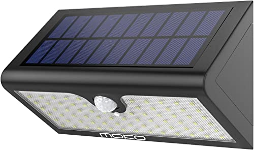 Solar Lights, MoKo Super Bright 71 LED Motion Sensor Solar Powered Lights, Outdoor Waterproof Wall Path Light Home Security Lamp with Wide Angle Illumination for Driveway, Yard, Garden, Patio – Black