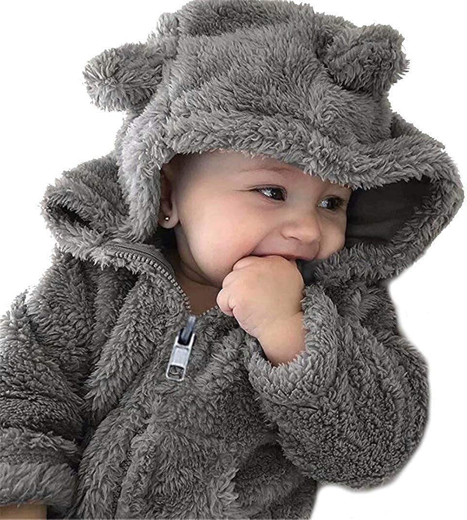 Seven Young Christmas Baby Boy Girl Cartoon Bear Fleece Snowsuit Winter Warm Thick Hooded Coat Jacket