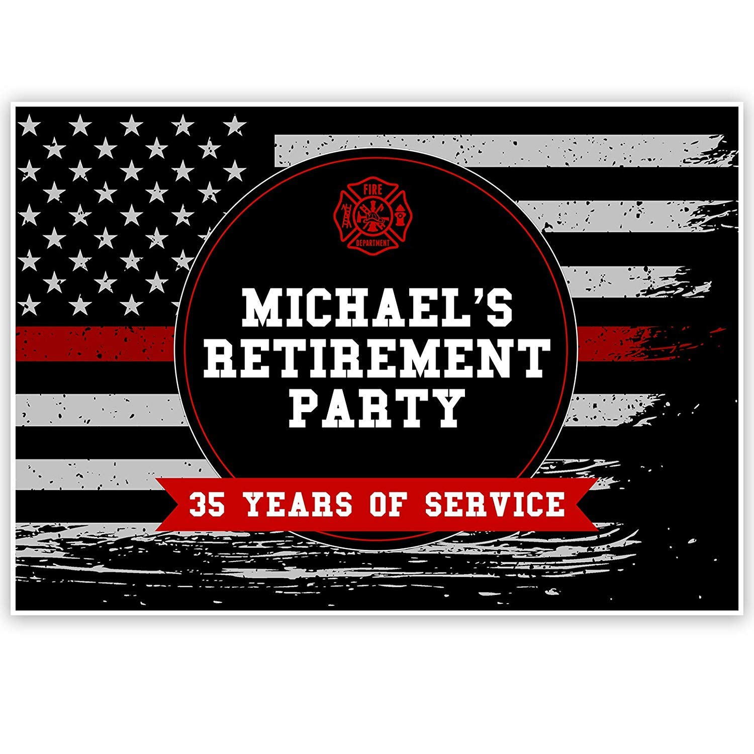 Firefighter Retirement Party Personalized Banner