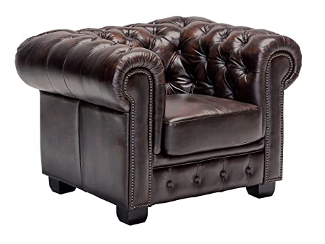 Woodkings Chesterfield Sillón marrón Vintage Piel Oficina ...